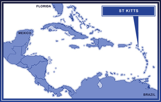 St Kitts on the map