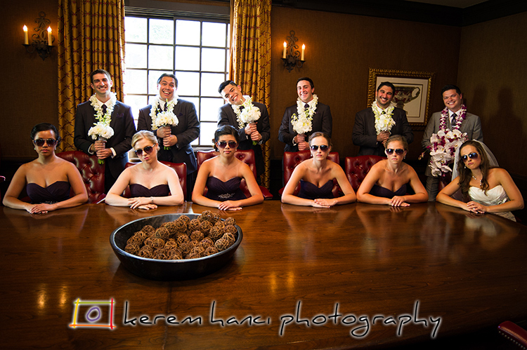 It is always extremely rewarding to work with a bunch of fun people who are game to act silly on their wedding day.  Brittany and Graydon were in for the fun along with their wedding party in the board room of Westlake Village Inn.