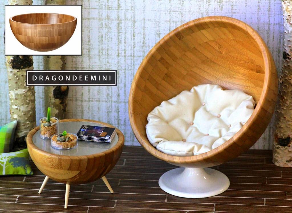 Silla y mesas hechas con boles de IKEA,