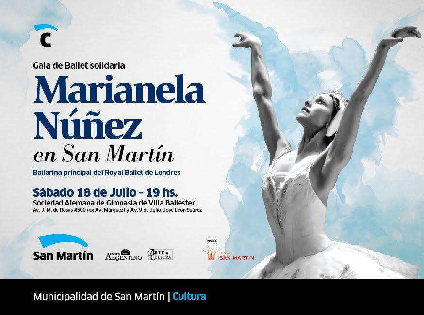 En una nueva gala solidaria, el 18 de Julio Marianela Núñez bailará para San Martín