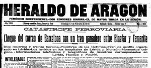 Noticia del chocque de trenes en Heraldo Aragón