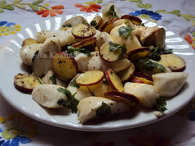 sweet potatoes and water chestnut salad