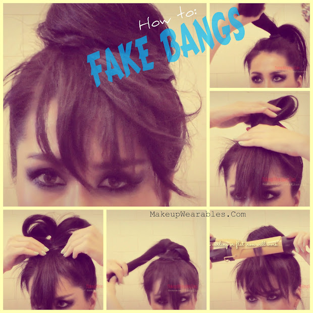easy hair bun with fake bangs tutorial