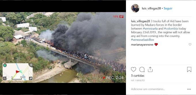 Caminhões com ajuda humanitária são incendiados na Venezuela