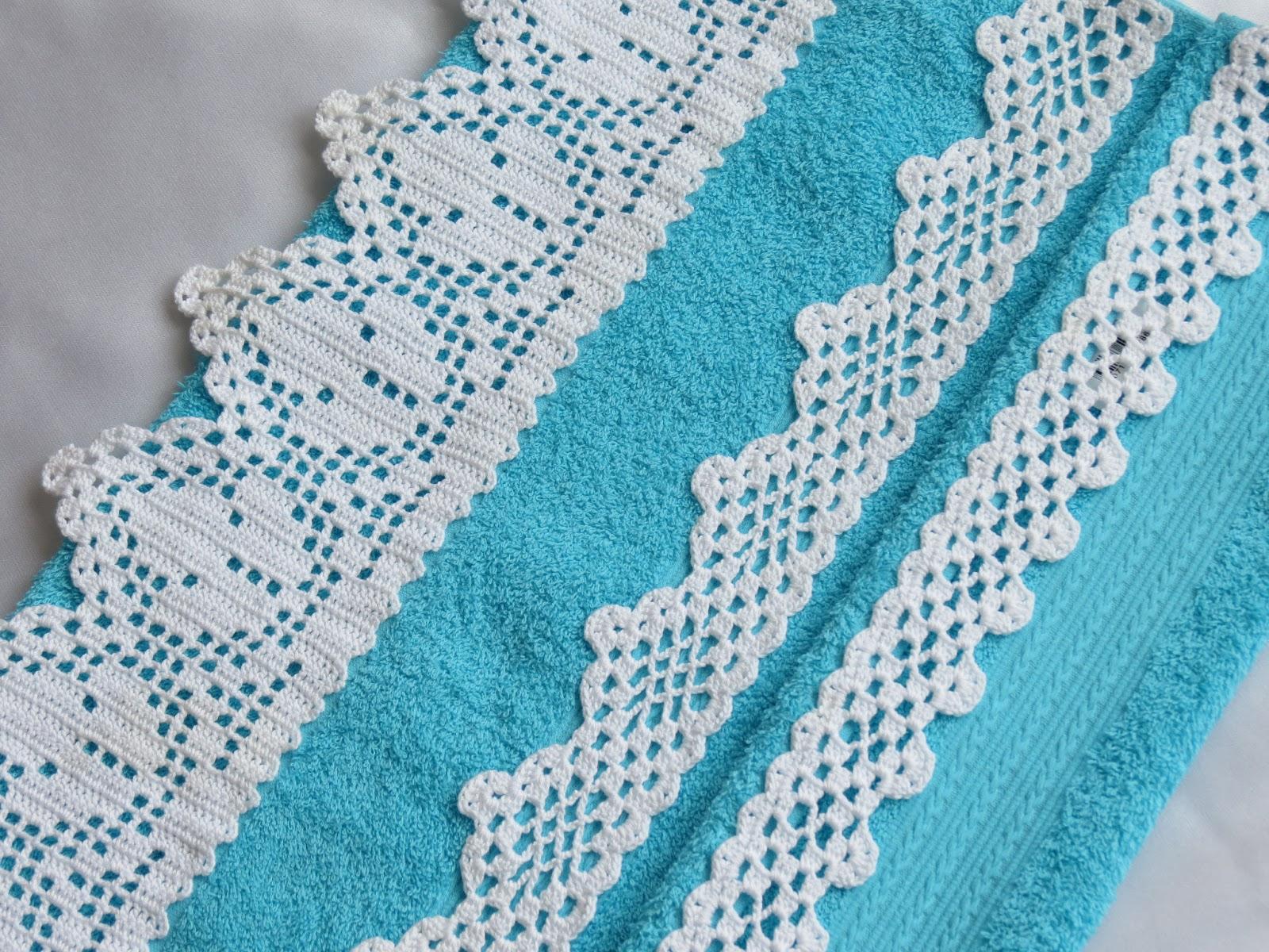 кайма крючком на полотенце схема