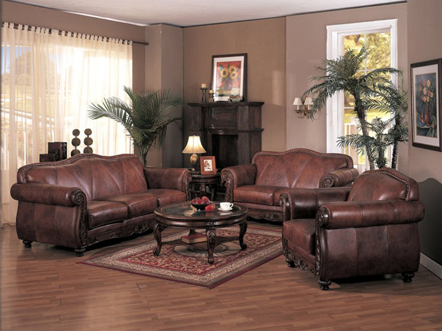 Living room decorating ideas with brown leather furniture for Cheap apartment decorating ideas furniture
