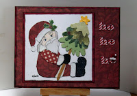 The santa is paper pieced by Sharon and she has gotten an early start on her Christmas cards