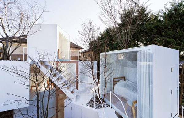 tiny houses layered on top of each other by Sou Fujimoto.