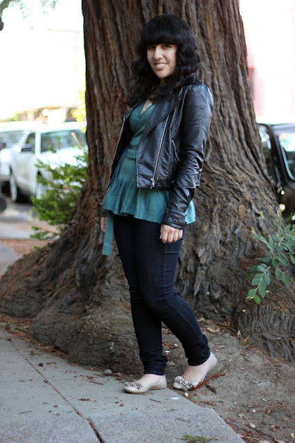 Leather Jacket, Sweater, Jeans and Flats