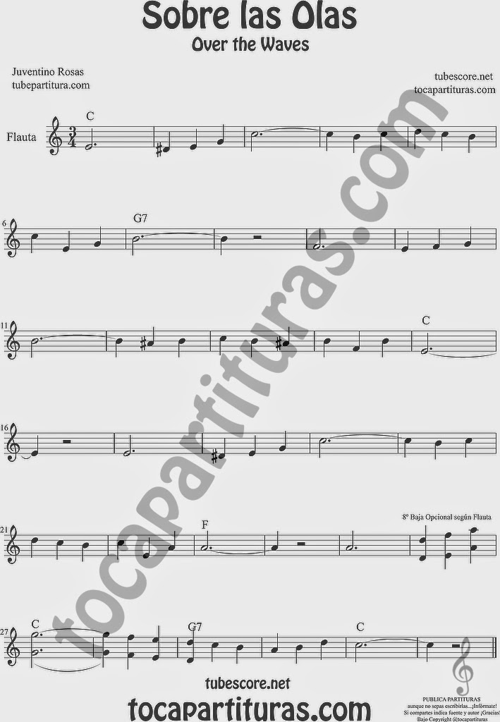 Sobre las Olas Partitura de Flauta Travesera, flauta dulce y flauta de pico Sheet Music for Flute and Recorder Music Scores Juventino Rosas Over the Waves