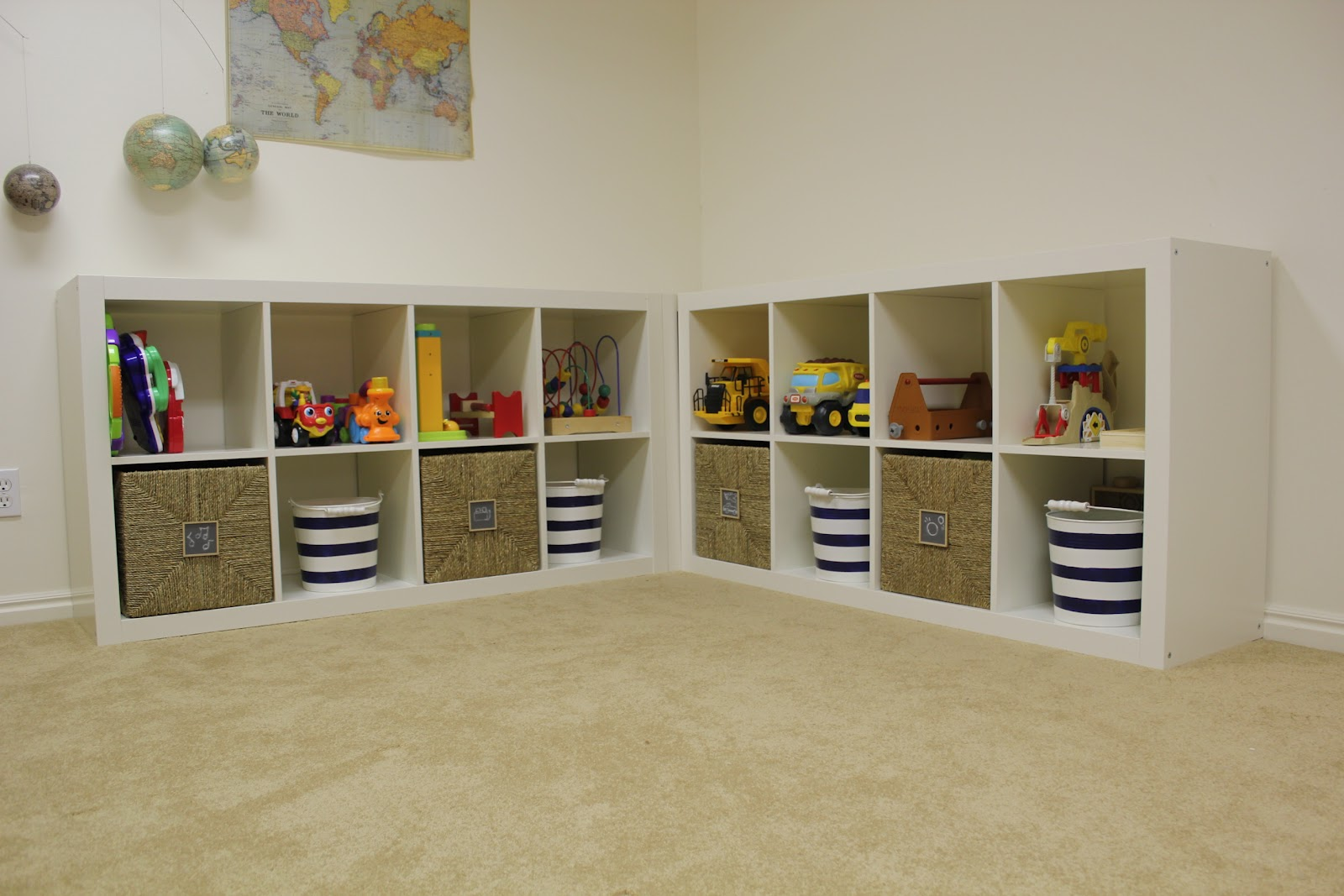 Everywhere beautiful playroom update toy storage - Toy shelves ikea ...