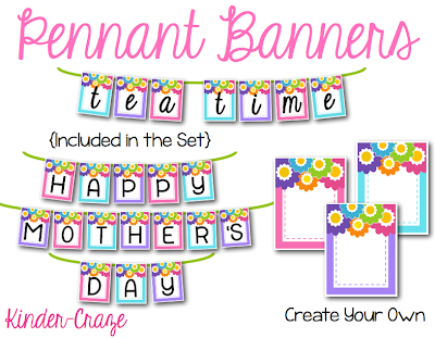 Kindergarten Mothers Day Tea-Party Pennant Banners