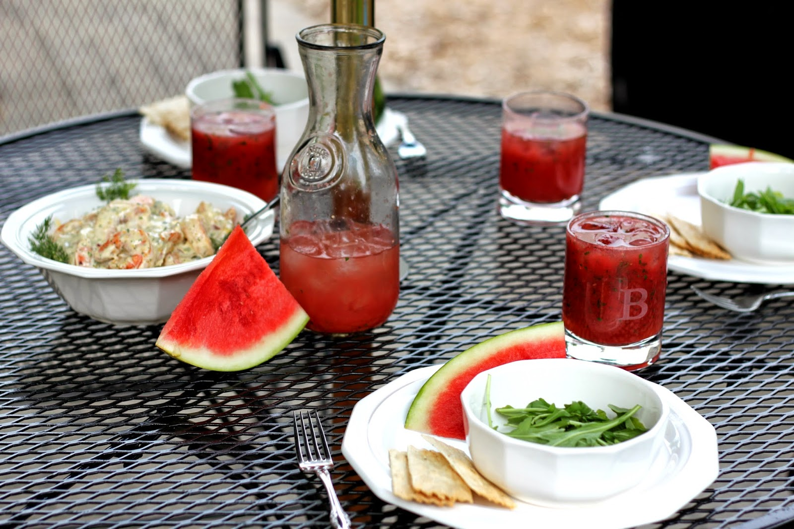 Summertime Watermelon Mojitos & Roasted Shrimp Salad