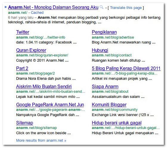 12 Pautan Google Sitelinks