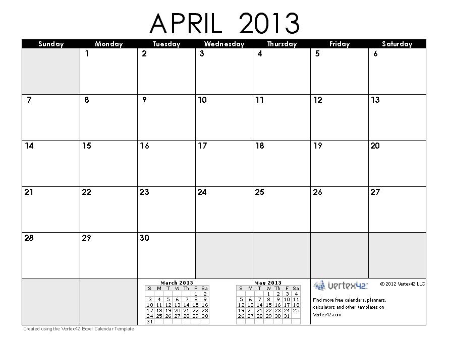 Free Printable Calendar: Free Printable Calendar April