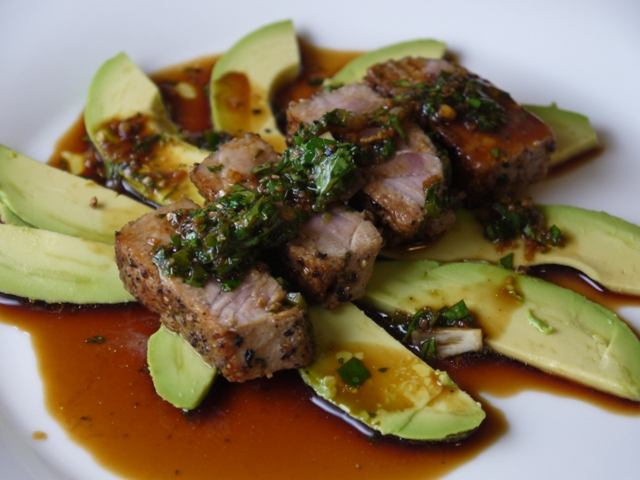 Clockwatching Tart: Seared Tuna with Avocado, Soy, Ginger and Lime