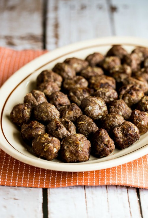 Low-Carb Baked Swedish Meatballs found on KalynsKitchen.com