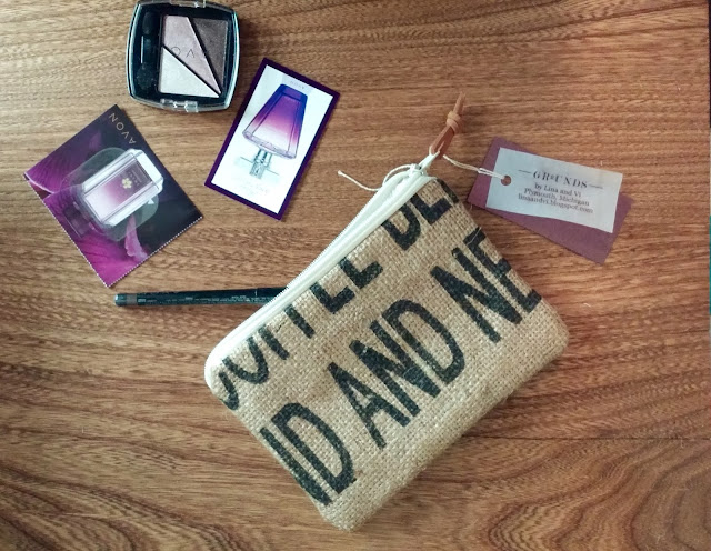 Lina and Vi burlap pouch plus Avon cosmetics