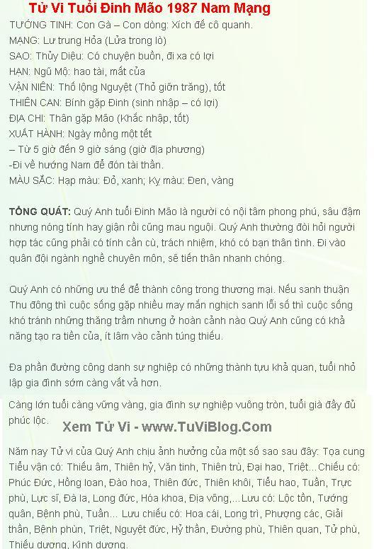Tu Vi Tuoi Dinh Mao 1987 Nam 2016