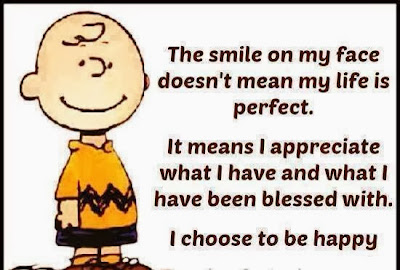 The smile on my face doesn't mean my life is perfect. It means I appreciate what I have and what I have been blessed with.