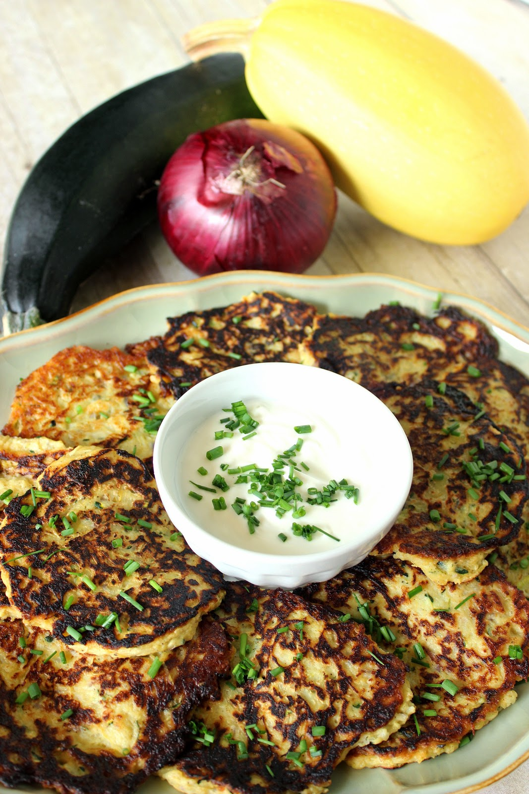 Or how about this one for ZUCCHINI AND SWEET POTATO FRITTERS: