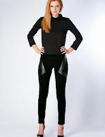 Pantaloni femei, negri, din catifea, cu insertii de piele eco, Moja (Moja)