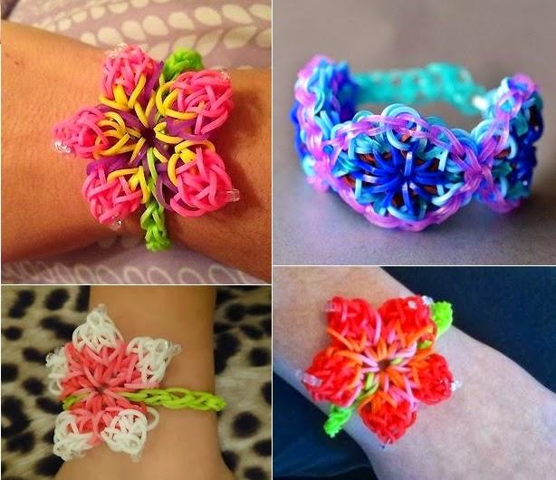 Плетение из резиночек браслет с цветами