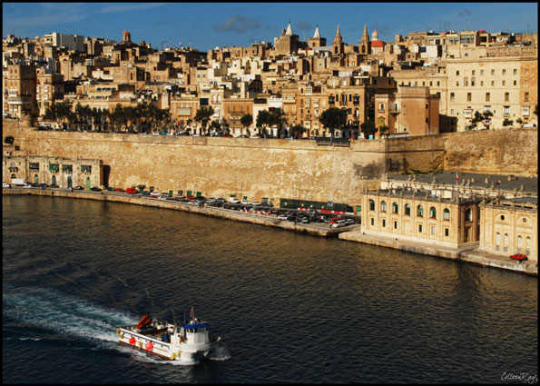 Sweeping city view of Valletta Malta from the Grand Harbor