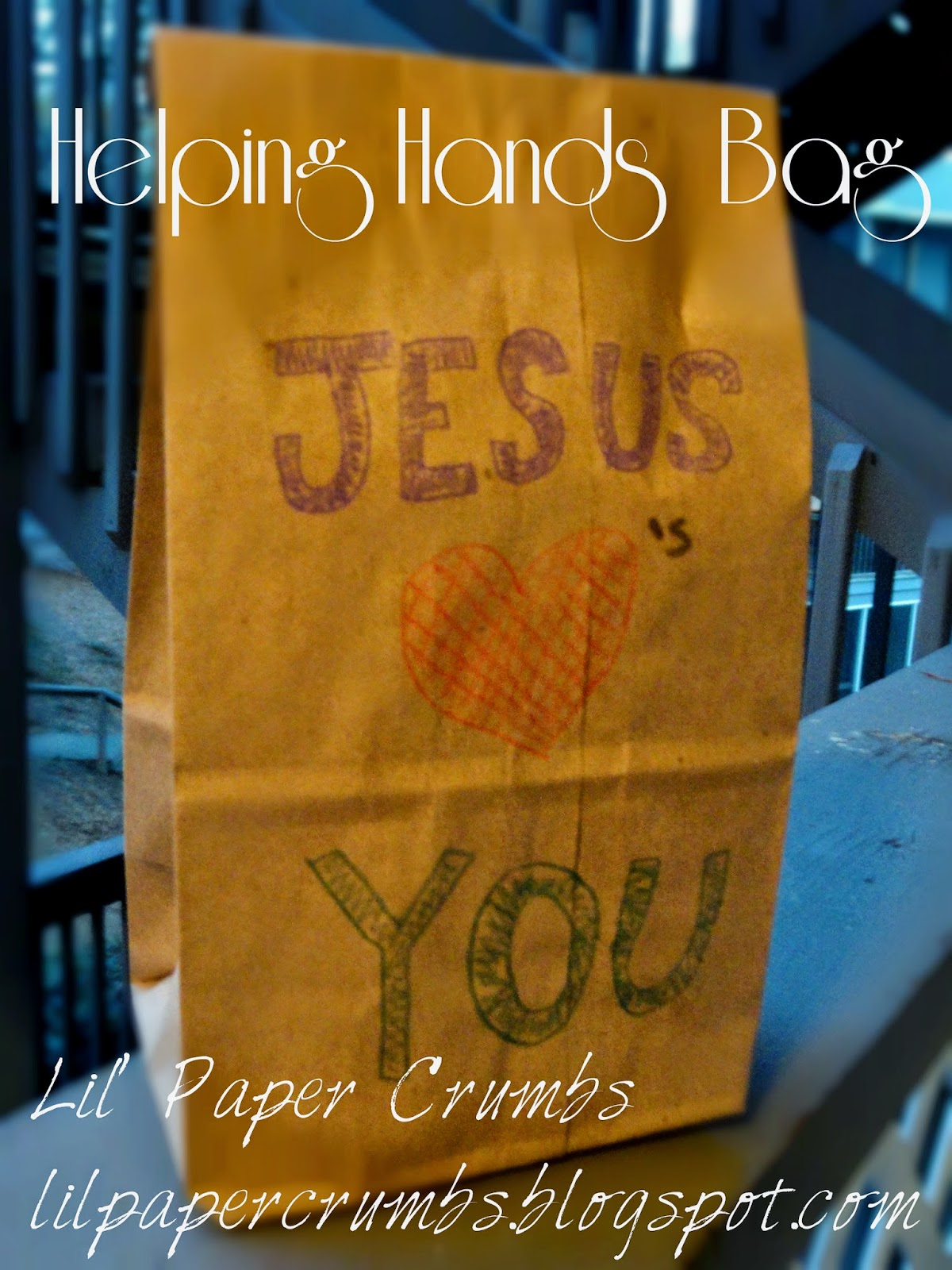 Helping Hands Bag with poem @lilpapercrumbs.blogspot.com