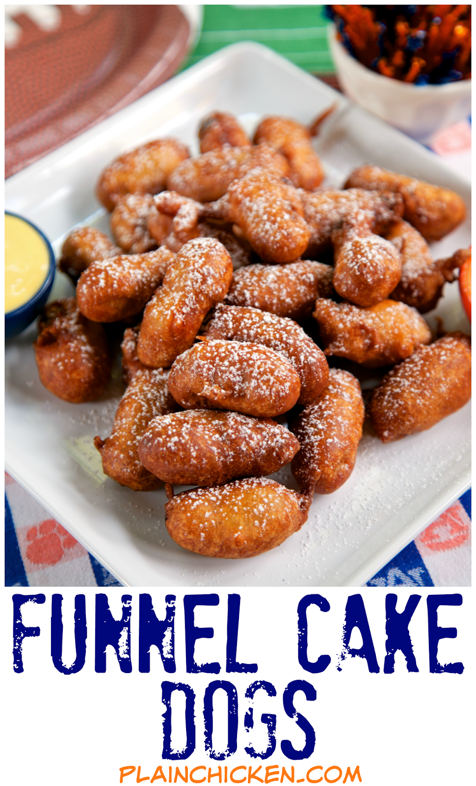 Funnel Cake Dogs Recipe - great for tailgating!! Little Smokies battered and fried. Dip in honey mustard or plain honey. Fun twist on our usual pigs in a blanket. Great party food and tailgating food!
