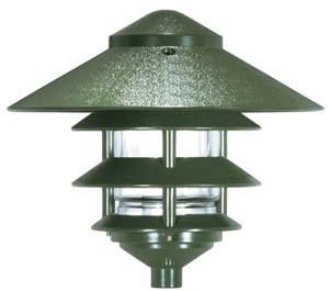 Nuvo 76-636 1 Light 9 Inch Pathway Light Three Louver, Large Hood Green