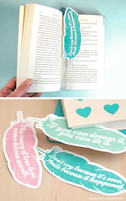 printable feather bookmarks