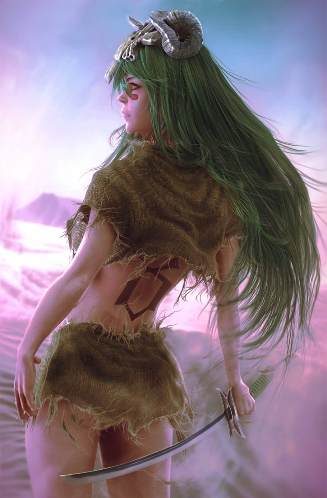 A large '3' is tattooed on her back, indicating that she was the former 3rd Espada.