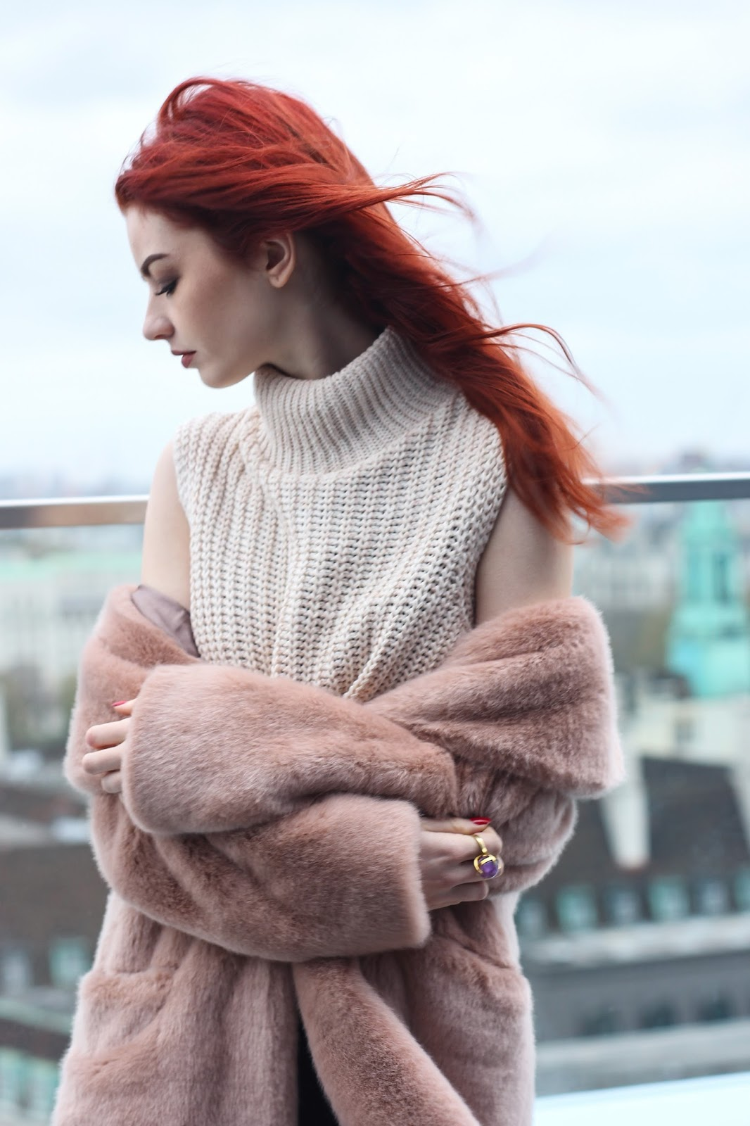 pale pink faux fur coat