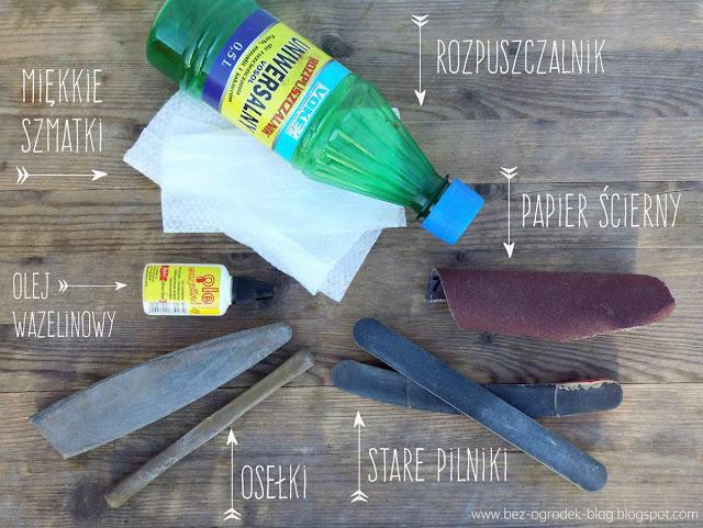 Materiały pomocne w czyszczeniu i ostrzeniu sekatora