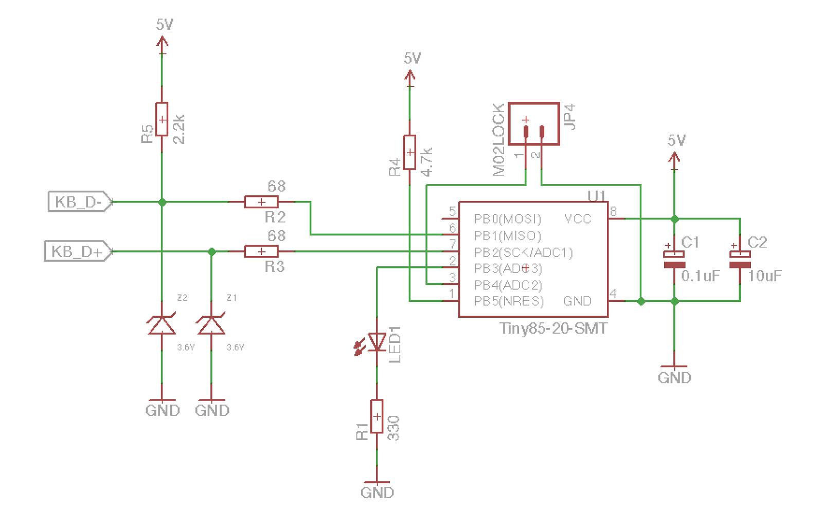 usb keyboard circuit diagram usb image wiring diagram building a usb kvm using attiny85 and fsusb30 part 1 erikandre org on usb keyboard circuit