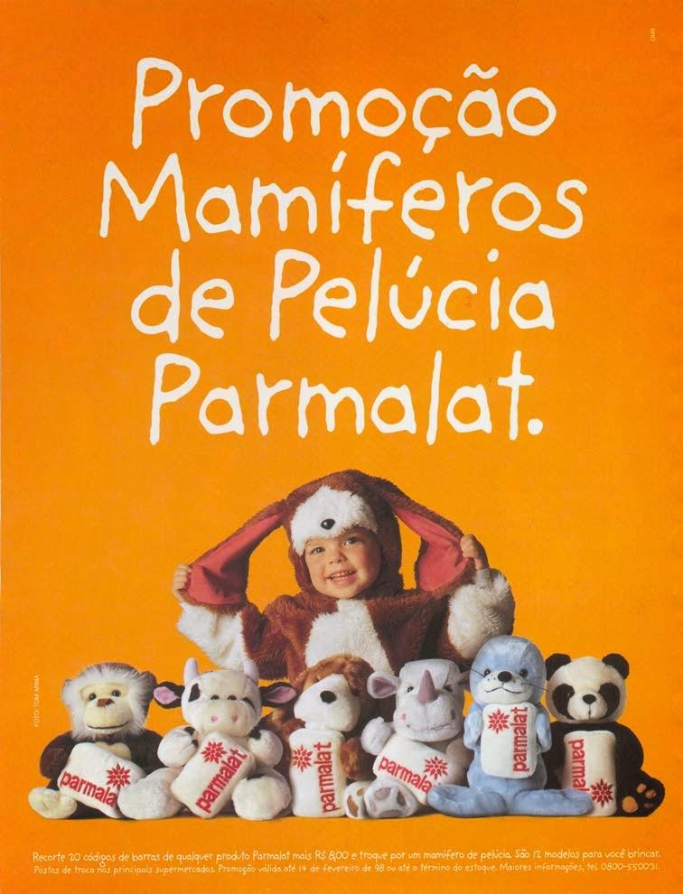 Propaganda dos bichos de pelúcia dos Mamíferos da Parmalat, em 1998.