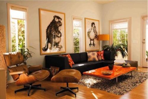 10 salas de color naranja y marr n colores en casa - Cojines de colores para decorar ...