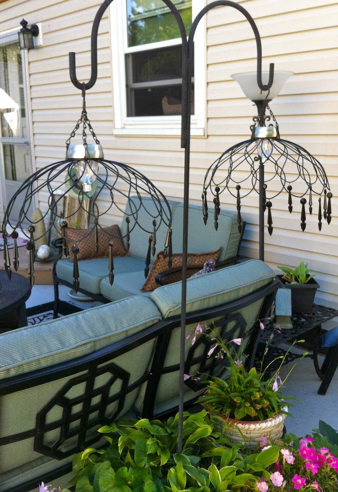 Diy Solar Light Our Garden Path Hanging Chandelier From Wire Baskets