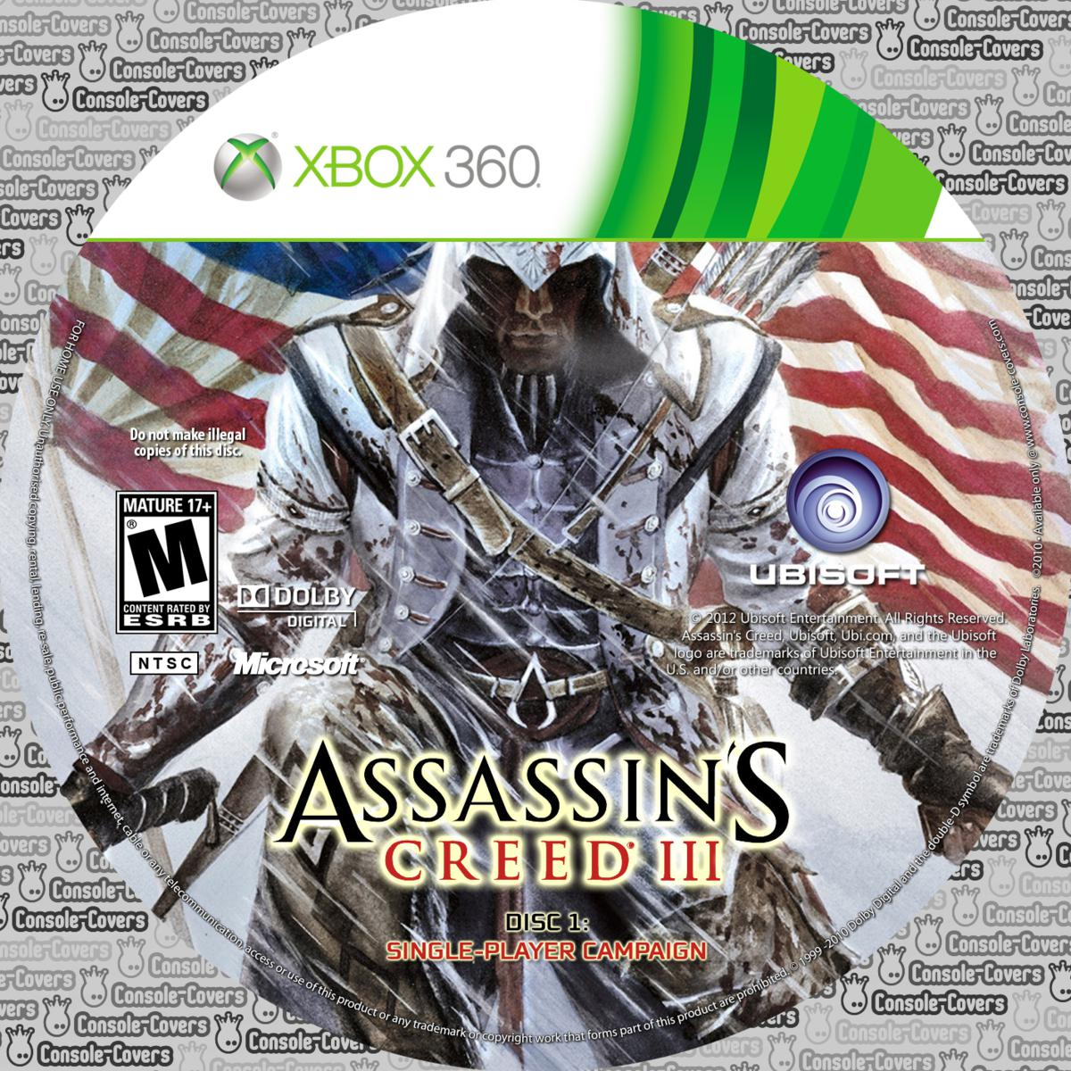 Label Assassins Creed III Disc 1 Xbox 360