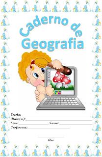 capa para caderno bebe azul geografia