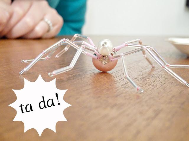 beaded christmas spider ornament