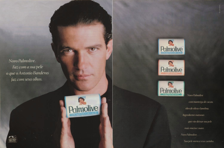 Propaganda do sabonete Palmolive com o ator Antonio Banderas, em 1997.