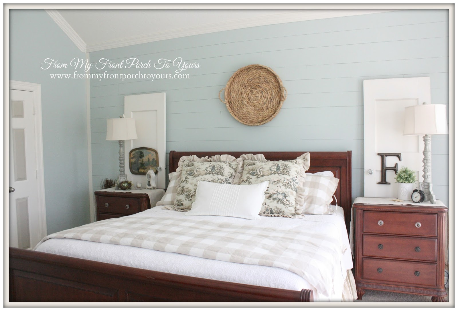 From My Front Porch To Yours- French Farmhouse Bedroom Makeover-SW 6211 Rainwashed
