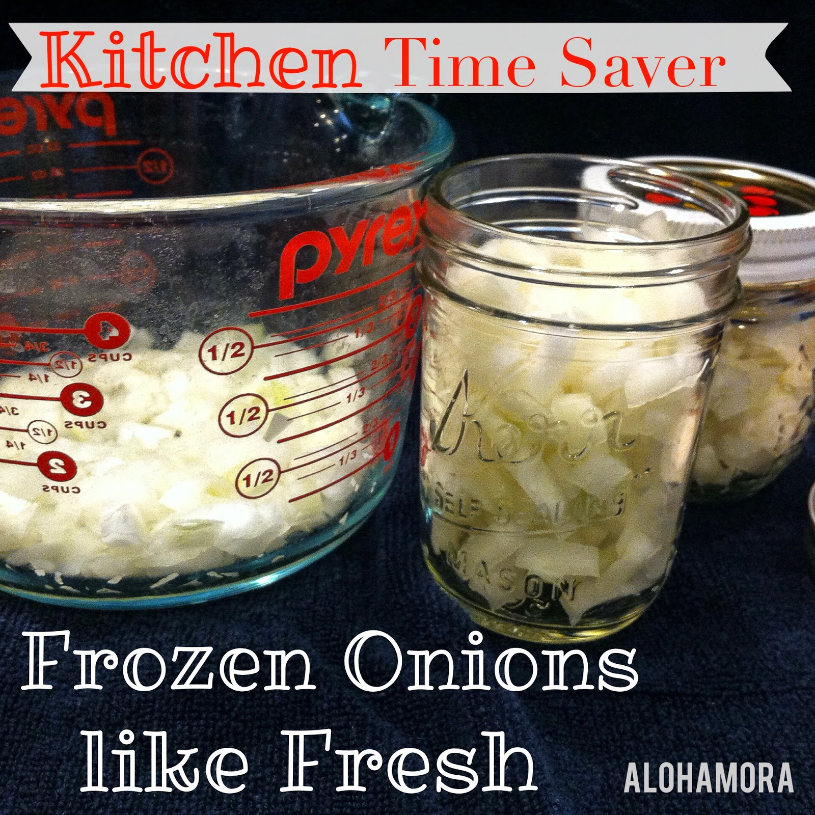 Kitchen Time Saver: Freeze your onions and then use them like they are fresh.  No more dicing onions every day for every meal.  Alohamora Open a Book http://www.alohamoraopenabook.blogspot.com/