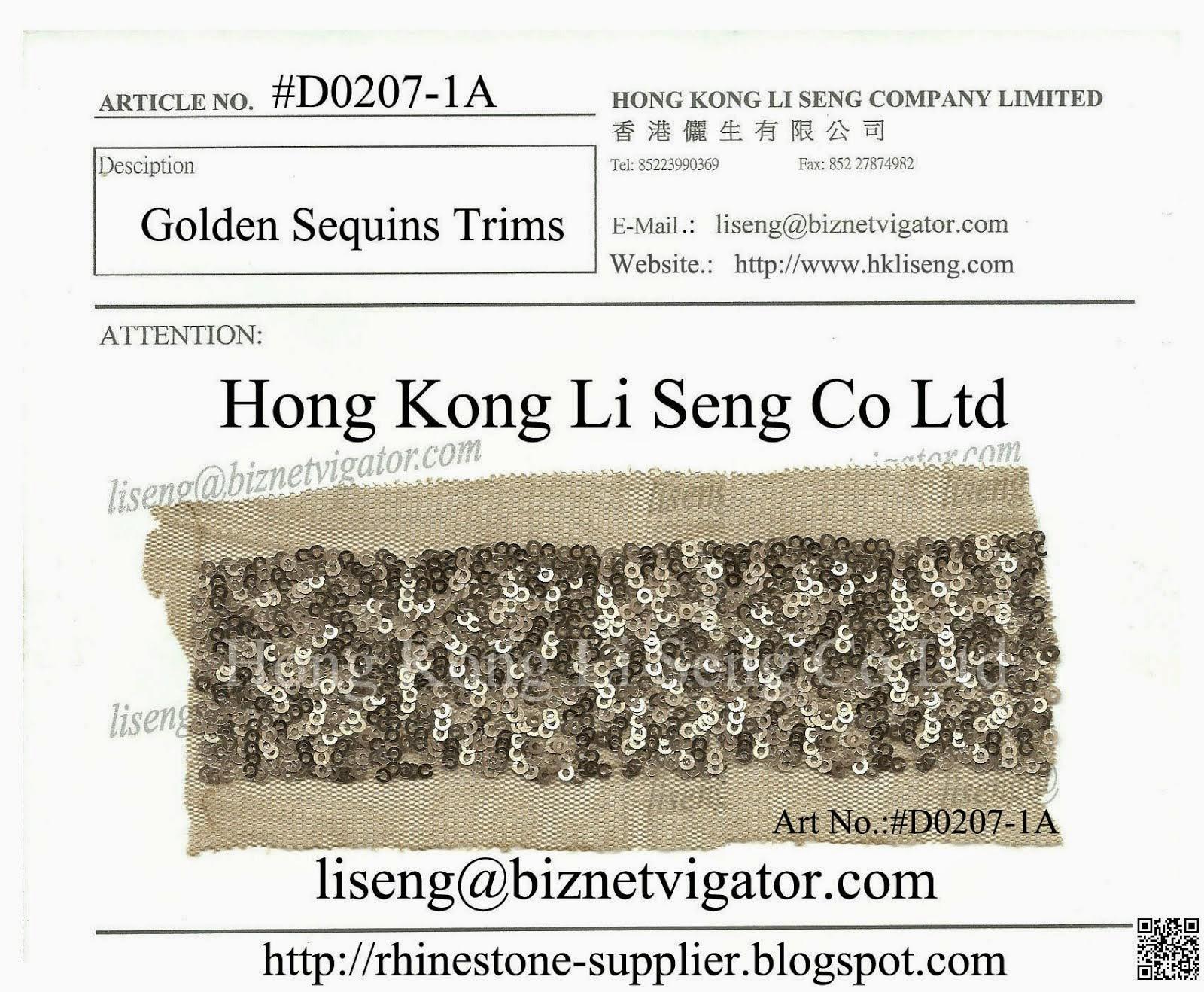 Golden Sequins Trims Manufacturer - Hong Kong Li Seng Co Ltd