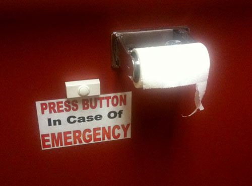 funny toilet sign - in case of emergency
