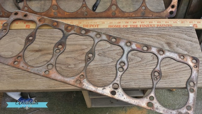 repurposing car engine gasket fall decor