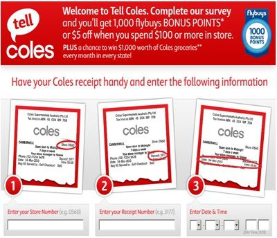 Www.Tellcoles.com.au: Tell Coles in Survey to win $1000 Coles Gift Card