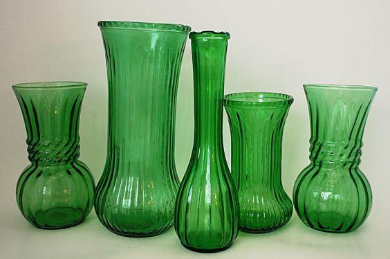 Let It Shine Vintage Green Glass Vases